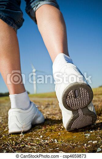 Female hiker walking trail - csp4659873