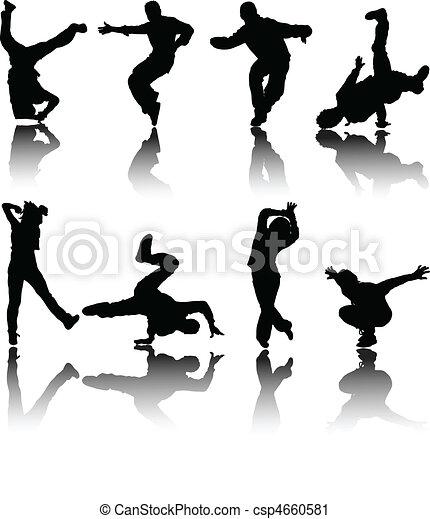 silhouette street dancers vector - csp4660581