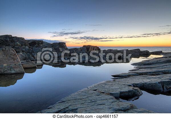 Newoundland Coastline at Sunrise - csp4661157