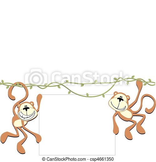 happy monkeys with blank board - csp4661350