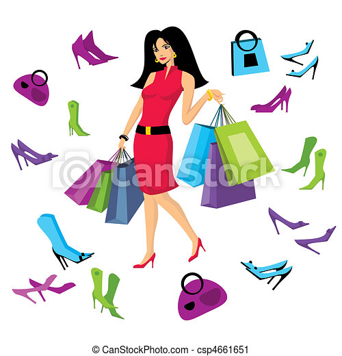 Clip Art Pretty Clipart pretty illustrations and clip art 149755 royalty free girl with bags illustration