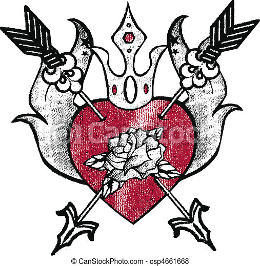 royal heart emblem design - csp4661668