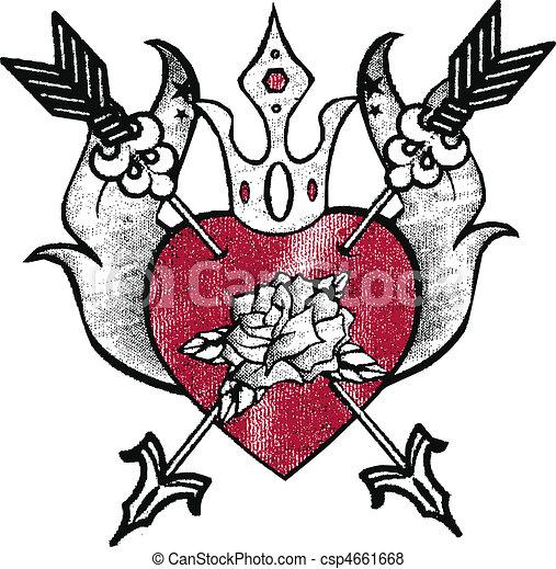 royal heart emblem design - csp4661668