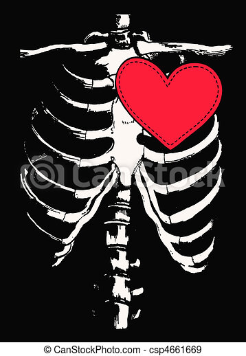 funny skull and heart design - csp4661669