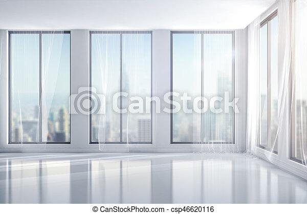 3d interior room with big windows csp46620116