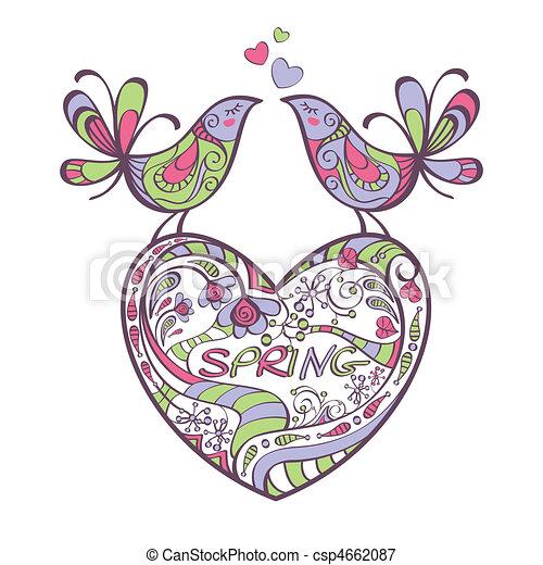 heart, birds, spring - csp4662087
