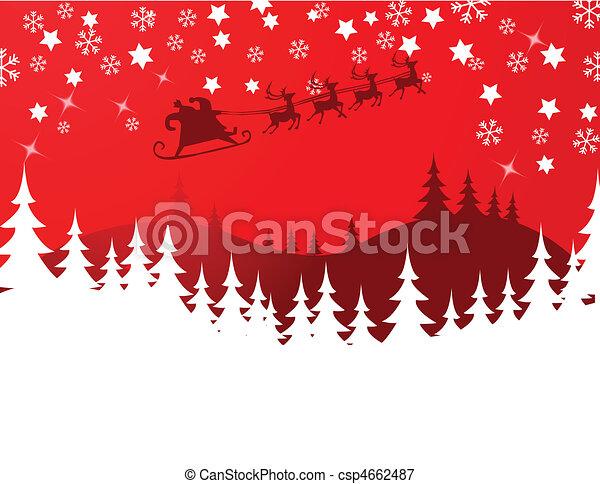 Flying Santa and Christmas Reindeer - csp4662487