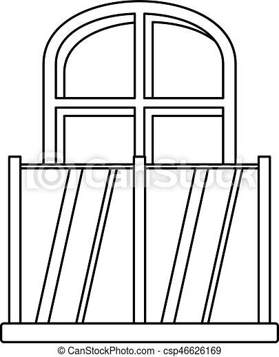 Fenster clipart schwarz weiß  Clip Art Vektor von stil, gewölbt, grobdarstellung, fenster, ikone ...