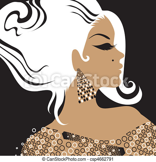 portrait of woman with long hair - csp4662791