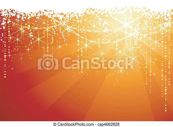Abstract red golden background with sparkling stars for festive occasions. Great as Christmas background. - csp4662828