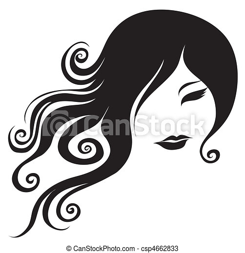 portrait of woman with long hair - csp4662833