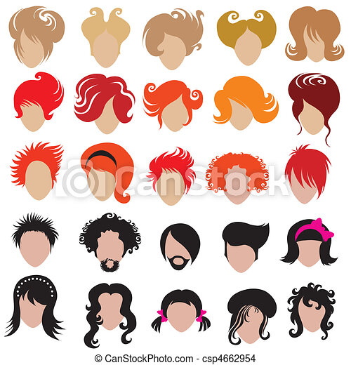 Vector set of trendy hair styling i - csp4662954