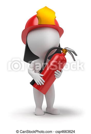 3d small people - fireman - csp4663624