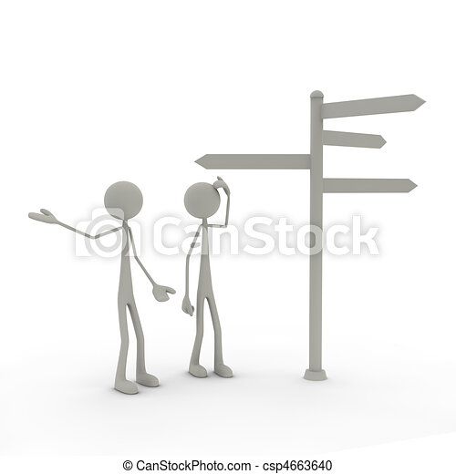 Figures with direction sign  - csp4663640