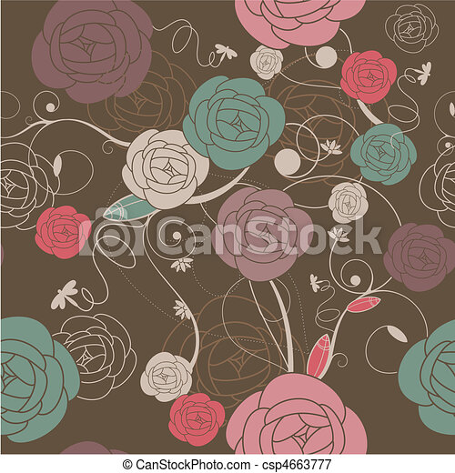 seamless romantic wallpaper - csp4663777