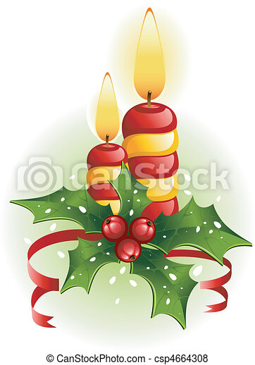 Christmas candles and holly - csp4664308