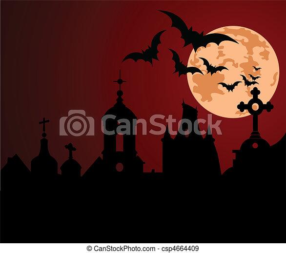 Halloween night in the town - csp4664409