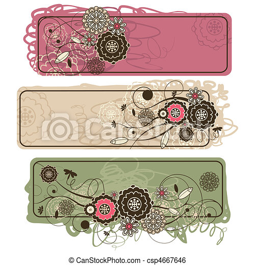 abstract cute horizontal floral banners - csp4667646