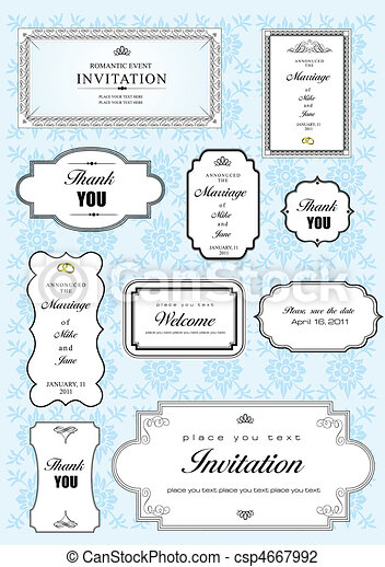 Set of ornate vector frames and or - csp4667992
