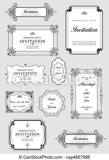 Set of ornate vector frames and or - csp4667998