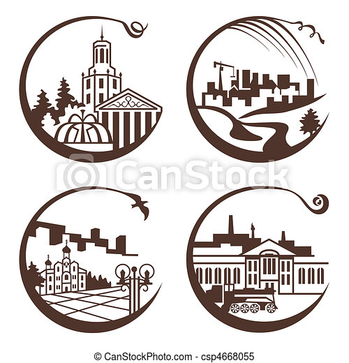 city graphic illustration - csp4668055