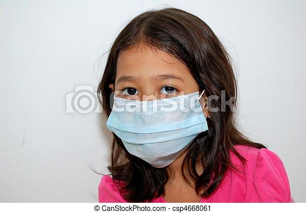 Girl using face mask