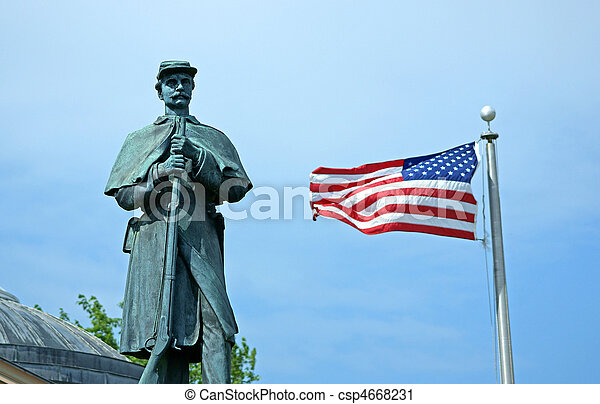Civil war monument with American flag - csp4668231