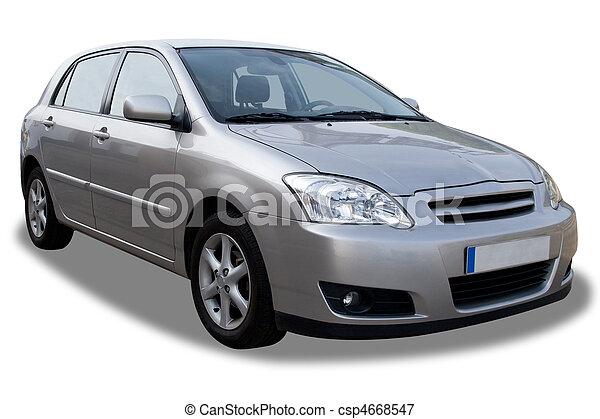 コンパクト, 自動車, 白, 隔離された,  4-door - csp4668547