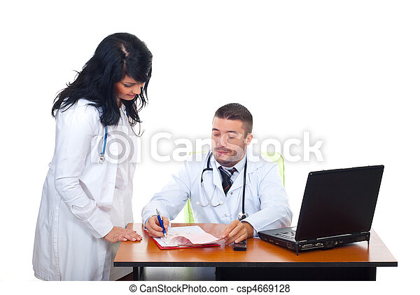 Two physicians team in medical office - csp4669128