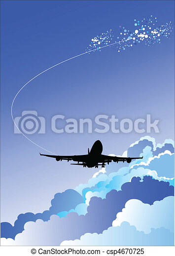 Landing  airplane vector illustrat - csp4670725