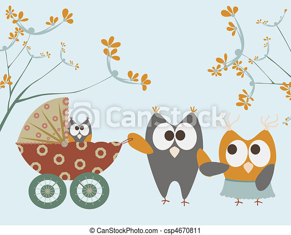 baby stroller with owls - csp4670811