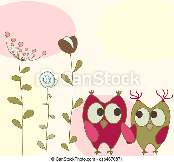 floral greeting card with owls - csp4670871