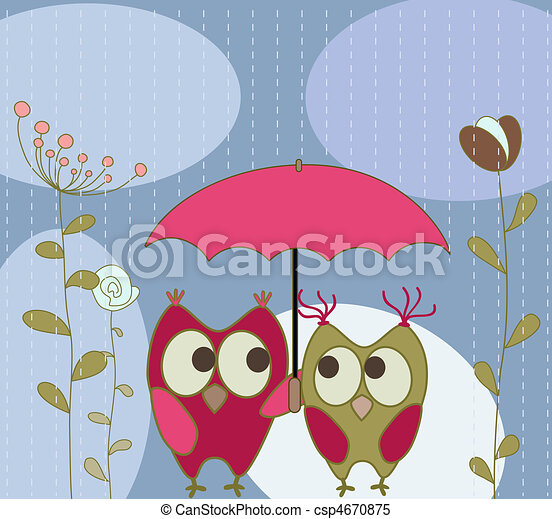 floral greeting card with owls - csp4670875
