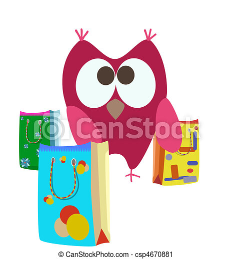 cartoon shopping bags and owl - csp4670881