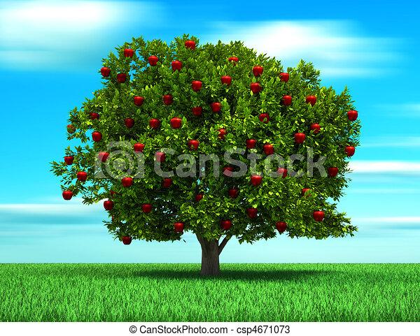 Dibujos de rbol manzana rbol con manzana frutas for Arboles frutales para el jardin