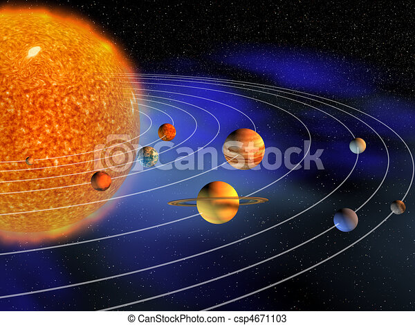 Diagram of planets in solar system - 3d... csp4671103 - Search Clipart ...
