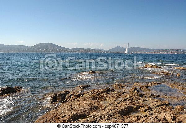 Yacht and rocks St Tropez - csp4671377