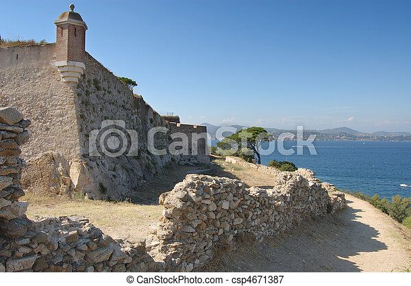 St TRopez castle walls and bay - csp4671387