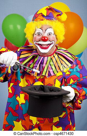 photographies de tour magie clown heureux anniversaire clown fait a csp4671430. Black Bedroom Furniture Sets. Home Design Ideas