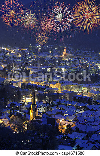new year fireworks over town - csp4671580