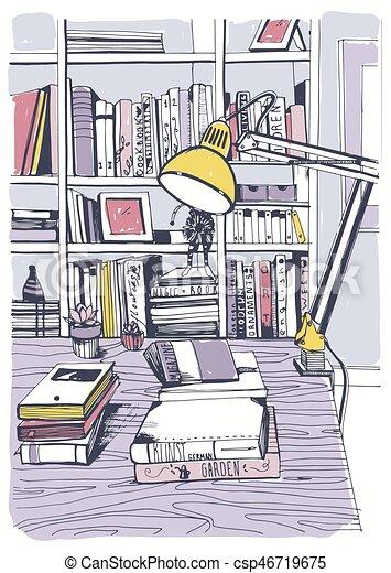 Bücherregal gezeichnet  Vektoren Illustration von skizze, bücherregale, illustration ...