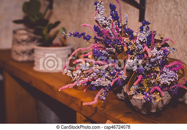 seasonal decorative bouquet from colorful dried flowers