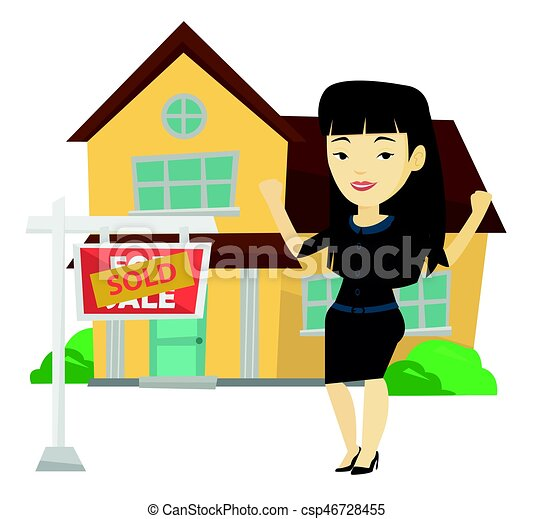 Real estate agent with sold placard. - csp46728455