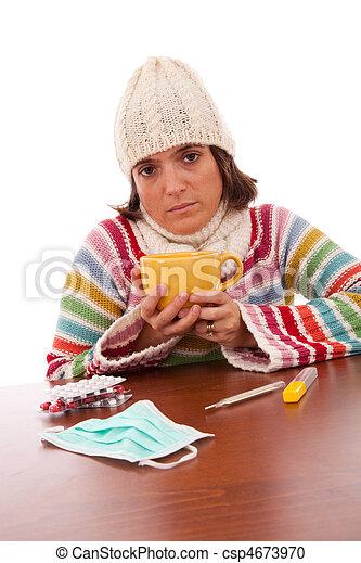 woman with flu symptoms - csp4673970