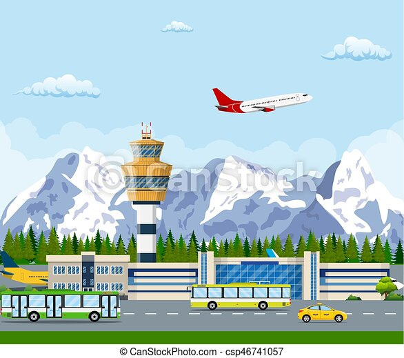 International airport in mountains concept. - csp46741057