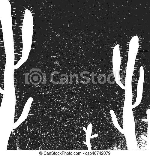 Cactus background. Grunge monochrome background. Black and white - csp46742079