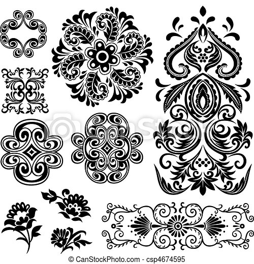 fancy swirl floral pattern design - csp4674595
