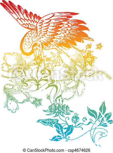 oriental classic bird illustration - csp4674626