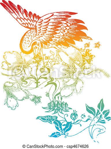 oriental classic bird illustration - csp4674626