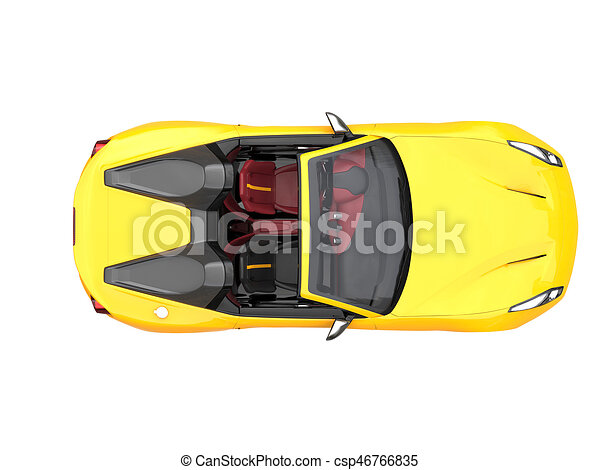Drawings Of Sun Yellow Fast Race Car Top Down View